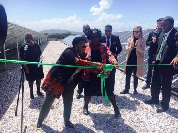 Tourism Minister Tokozile Xasa inaugurates the solar power plant at Robben Island Museum