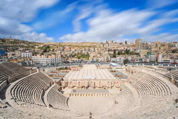 Tourists in the Roman amphitheatre of Amman, Jordan