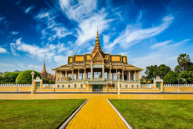 Phnom Penh tourist attraction and famouse landmark - Royal Palace complex, Cambodia