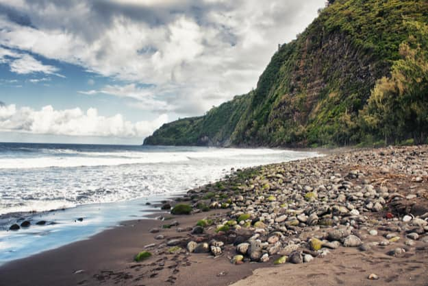 The black sands of Waipio Valley Beach
