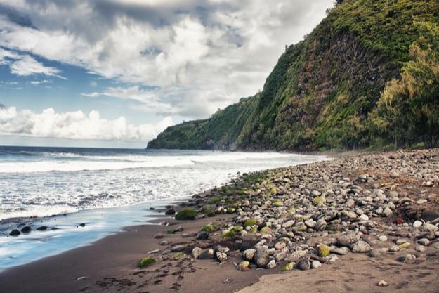 The black sands of Waipio Valley Beach