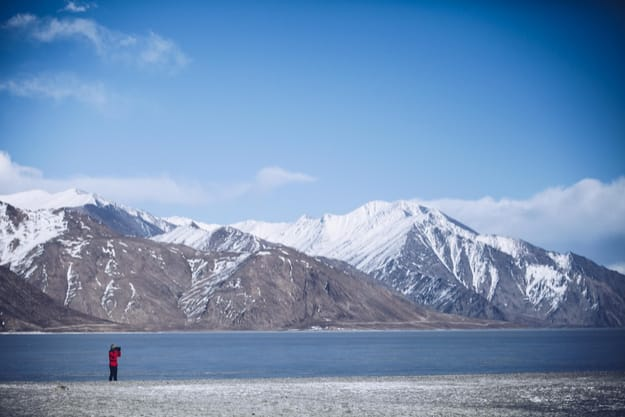 Winter in Pangong Lake in Leh, Ladakh