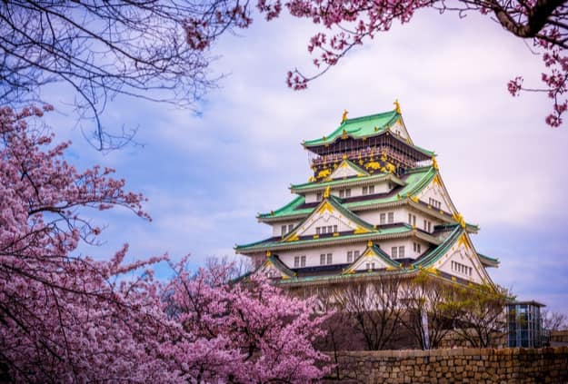 Osaka Castle in the backdrop of beautiful cherry blossoms