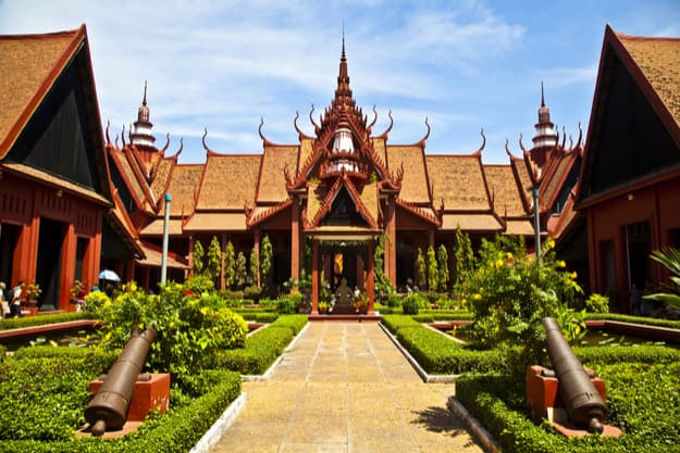 Cambodia's National museum in Phnom Penh, a beautiful example of the symmetry in traditional Khmer architecture