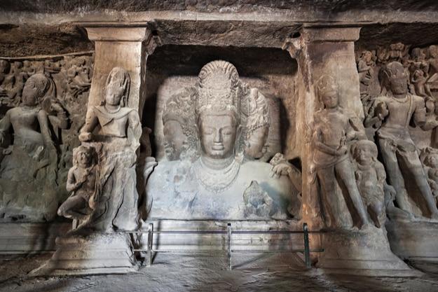Three-headed bust of Mahesa-murti in Cave 1 of Elephanta island
