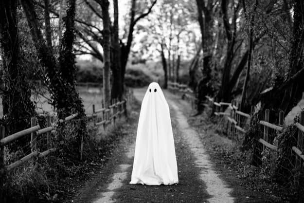 Ghost covered with a white ghost sheet on a rural path (for representational purposes)