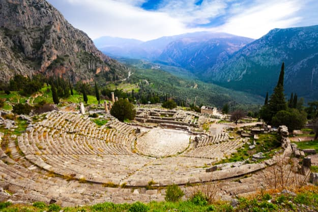 The view from the amphitheater in Delphi