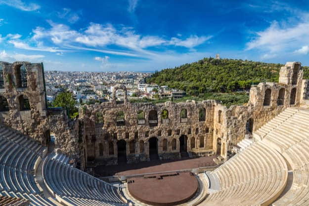 The ancient theater of Dionysus in a summer day in Acropolis, Greece