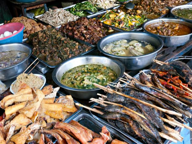 Fish and other Cambodian food at the Kandal Market in Phnom Penh