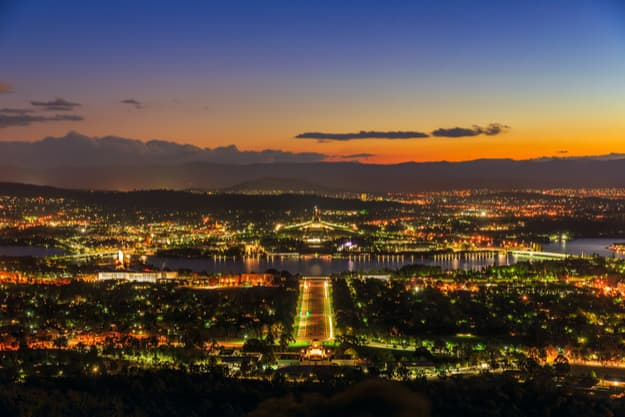 Cityscape of Canberra at twilight