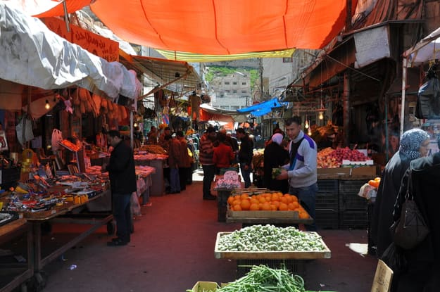 a market road in the City Amman in Jordan in the middle east