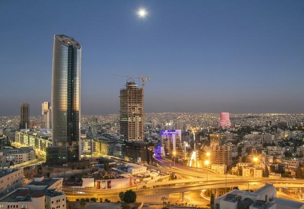 the new downtown of Amman abdali area - Jordan Amman city - View of modern buildings in Amman at night