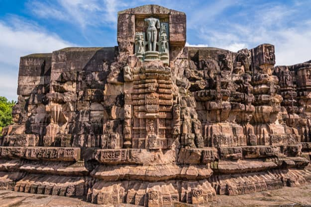 A part of the ancient temple of Sun god, currently under ruins at Konark, Odisha
