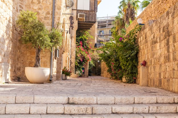 Ancient stone streets in Arabic style in Old Jaffa, Tel Aviv, Israel