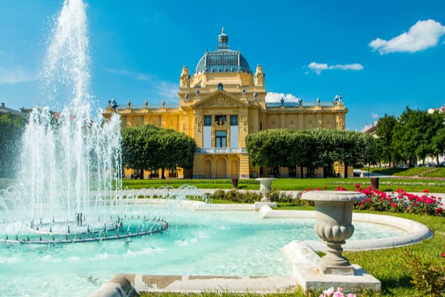 Art pavilion and fountain in Zagreb capital of Croatia