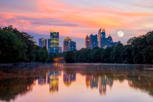Atlanta, Georgia Skyline from Piedmont Park's Lake Meer