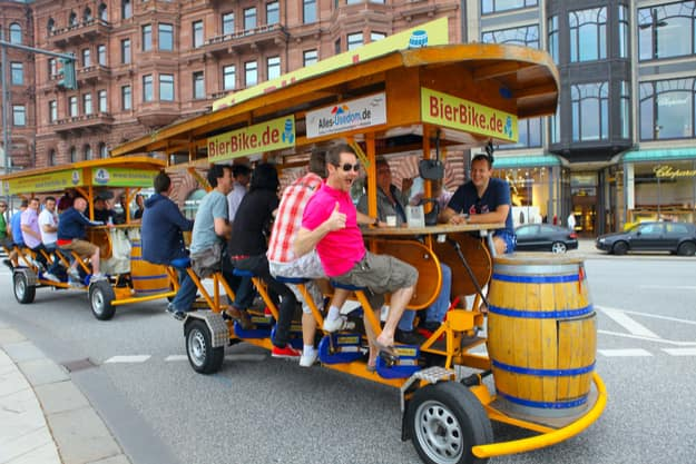 Beer bike on the streets of Hamburg