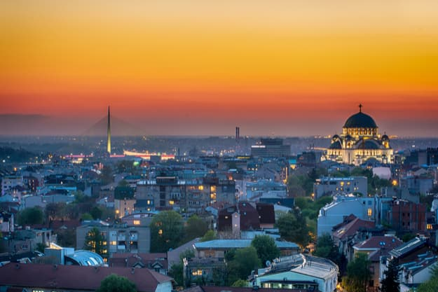Belgrade panorama with temple of Saint Sava