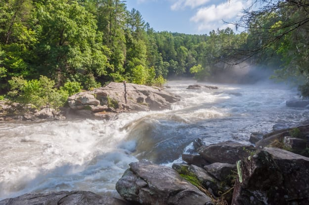 Bull Sluice rapid, following heavy rain, on the Chattooga river. Popular with whitewater boaters