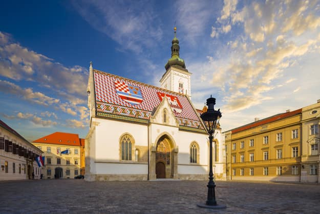 Church of St.Mark in St.Mark's square in upper town in Zagreb called Gornij Grad - historical part of Zagreb with middle age houses and churches