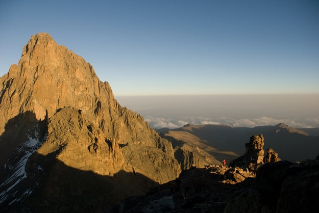 Climber almost at the top of Mount Kenya