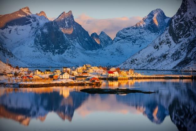 Colorful winter sunrise in the fishing village of Reine, Lofoten archipelago, Norway