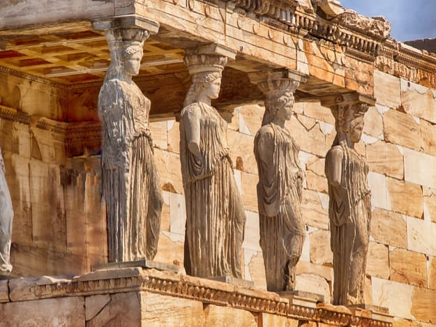 Detail of caryatids statues on the Parthenon on Acropolis Hill, Athens