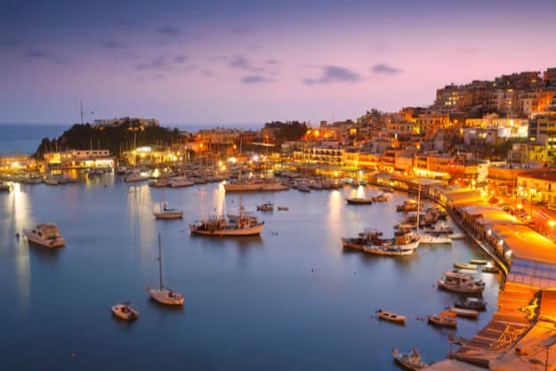Evening in Mikrolimano marina in Athens, Greece