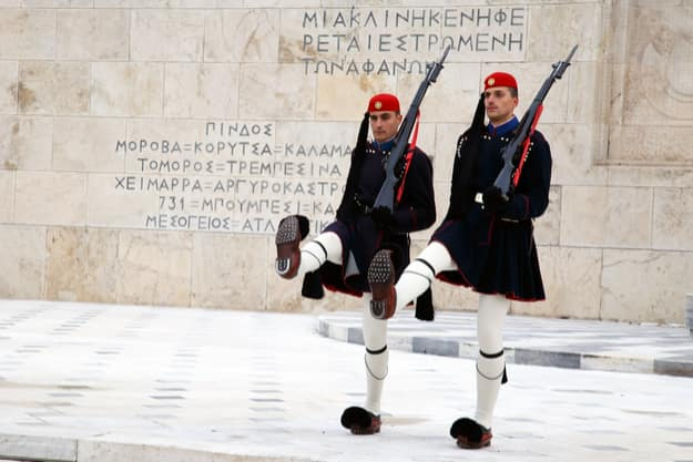 Evzones in front of the Tomb of the Unknown Soldier