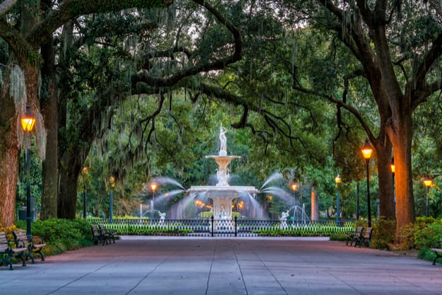 Famous historic Forsyth Fountain in Savannah, Georgia