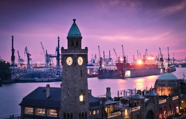 Hamburg, landing bridges and views of Harbour scene with shipyard
