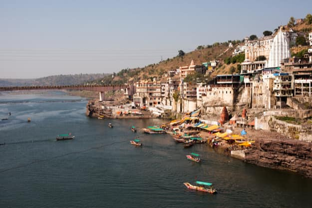 Hindu city Omkareshwar in India, Madhya Pradesh