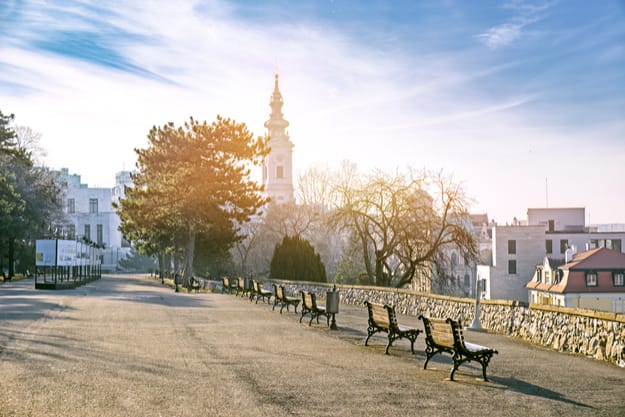 Kalemegdan park in early morning in Belgrade