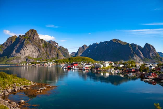 Lofoten is an archipelago in the county of Nordland, Norway. Is known for a distinctive scenery with dramatic mountains and peaks, open sea and sheltered bays, beaches and untouched lands