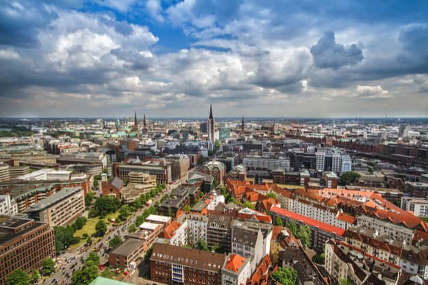 Overlook from the Michelin Tower to the old town part of Hamburg