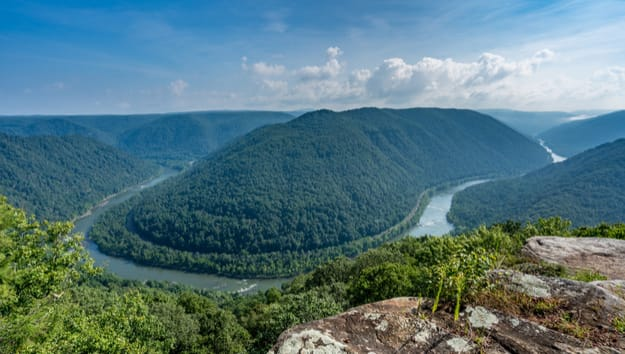 Panorama of New River at main overlook at Grand View in New River Gorge National park in West Virginia