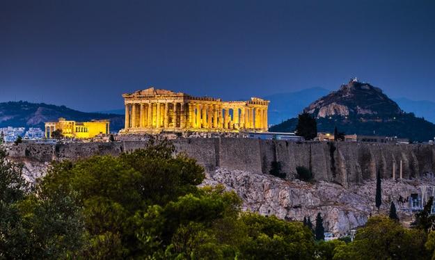 Parthenon of Athens at dusk time,