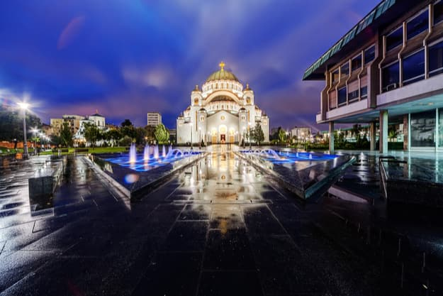 Saint Sava temple with fountain in Belgrade