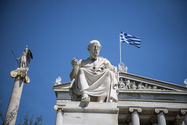 Statue of Greek philoshopher Plato (middle) outside the Academy of Athens main building, in central Athens