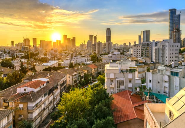 Tel Aviv skyline at sunset
