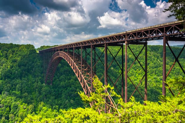 The New River Gorge Bridge, seen from the Canyon Rim Visitor Center Overlook, West Virginia