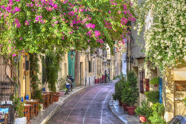 Traditional houses in Plaka area under Acropolis ,Athens