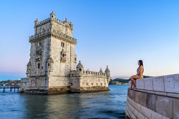 Traveler at Belem Tower