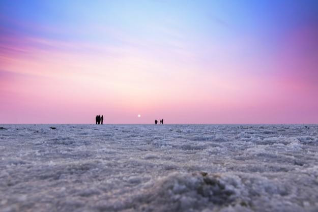 Beautiful multicolored sunset landscape silhouette of the Great Rann of Kutch, Gujarat