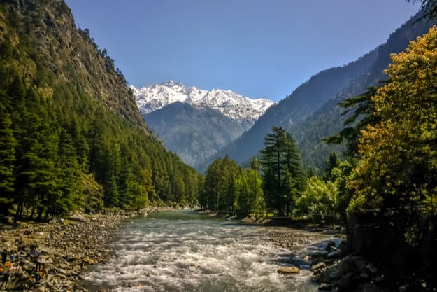 Beautiful view of Himalayan mountains, Kasol, Parvati valley, Himachal Pradesh