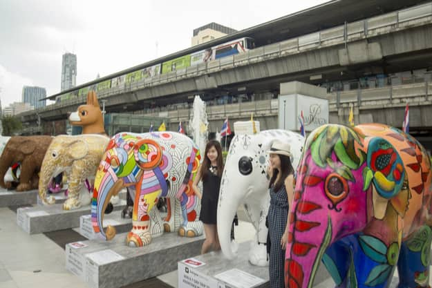 Elephant Parade at the Siam Square in the city of Bangkok in Thailand