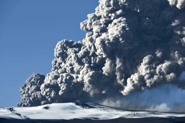 The volcano Eyjafjallajokull erupting in Iceland on May 12th 2010