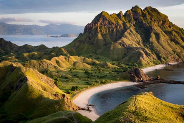 Landscape view from the top of Padar island in Komodo islands, Flores, Indonesia