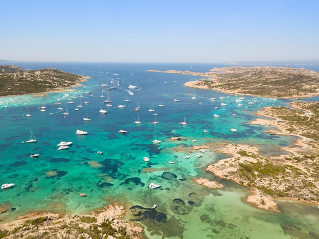 Aerial view of Razzoli island, Santa Maria island and Budelli island