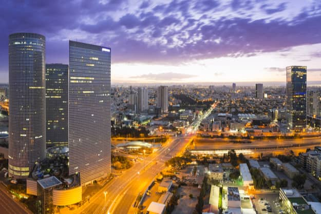 View of Tel Aviv at sunset Out of Window